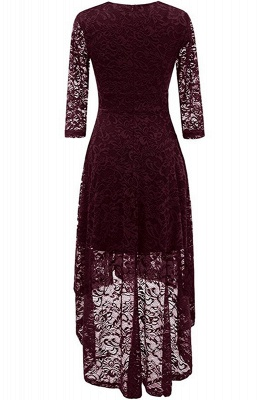 Festive dresses A line | burgundy dress with lace_3