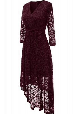 Festive dresses A line | burgundy dress with lace_2