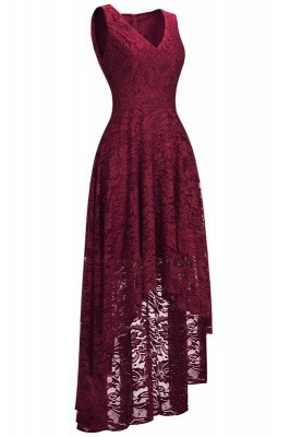 Red lace evening dresses | Pointed dresses women cheap_2