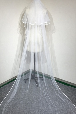 Bridal veil long | Cathedral veil with lace
