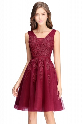 Simple evening dress wine red | Cocktail dresses lace cheap_4