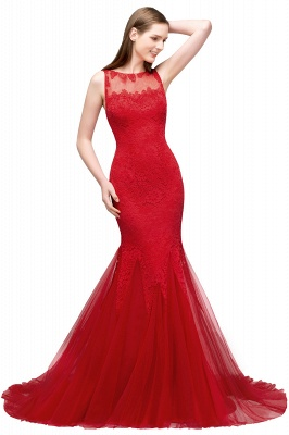 Red evening dresses long | Lace prom dresses cheap_1