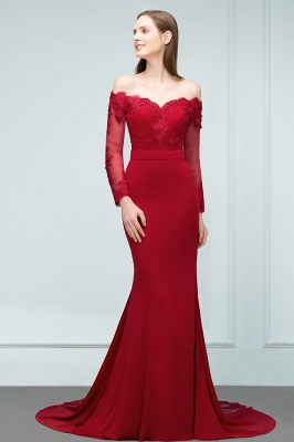 Designer Evening Dresses Long Red | Prom dresses with sleeves_2
