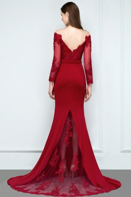 Designer Evening Dresses Long Red | Prom dresses with sleeves_3