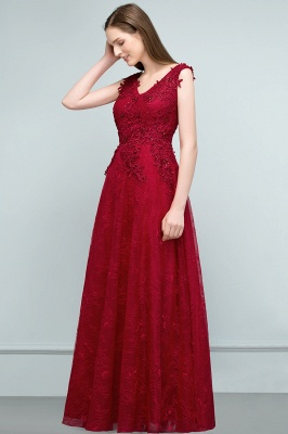 Red prom dresses | Evening dress long V neckline_2