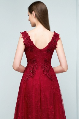 Red prom dresses | Evening dress long V neckline_3
