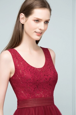 Burgundy prom dresses | Evening dress long V neckline_9