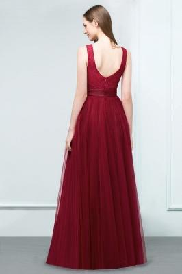 Burgundy prom dresses | Evening dress long V neckline_3