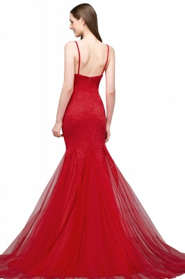 Red evening dresses long | Lace prom dresses cheap_4