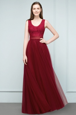 Burgundy prom dresses | Evening dress long V neckline_5