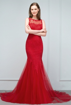 Red evening dresses long | Lace prom dresses cheap_6