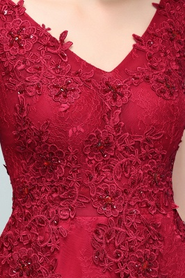 Red prom dresses | Evening dress long V neckline_9