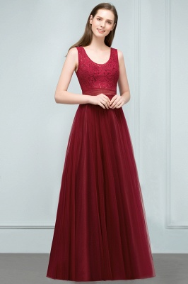 Burgundy prom dresses | Evening dress long V neckline_8