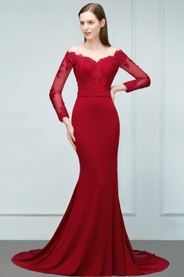 Designer Evening Dresses Long Red | Prom dresses with sleeves_5