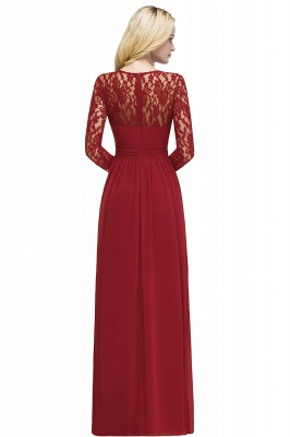 Red Prom Dresses Long Cheap | Evening dress lace sleeves_4