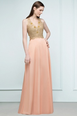 Cheap Evening Dresses Long V Neck | Evening dress with lace_2