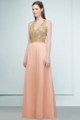 Cheap Evening Dresses Long V Neck | Evening dress with lace_6