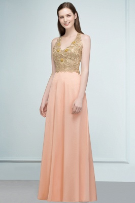 Cheap Evening Dresses Long V Neck | Evening dress with lace_4