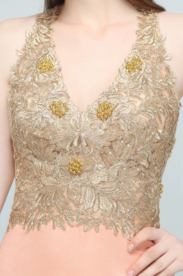 Cheap Evening Dresses Long V Neck | Evening dress with lace_9