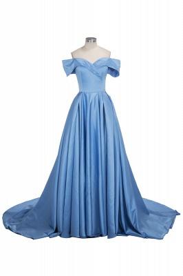 Fashion Blau Abendkleider Lang Günstig Schulterfrei Abendmoden Partykleider_1