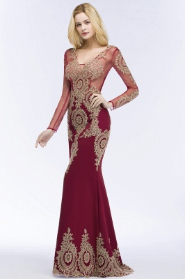 Red evening dresses with sleeves | Long glitter prom dresses_5