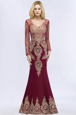 Red evening dresses with sleeves | Long glitter prom dresses_8