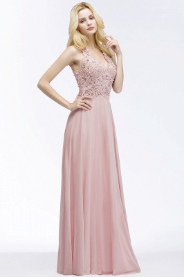 Evening dresses long V neckline | Pink prom dresses