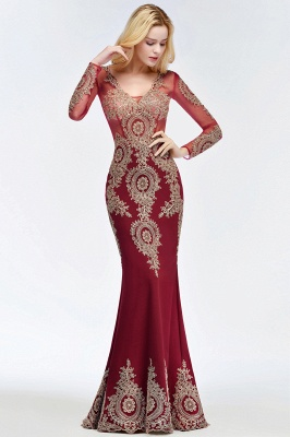 Red evening dresses with sleeves | Long glitter prom dresses_6