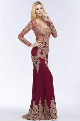 Red evening dresses with sleeves | Long glitter prom dresses_7