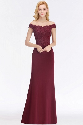 Wine red simple evening dresses long cheap with lace prom dresses online_3
