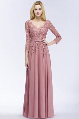 Bridesmaid Dresses Long Dusty Pink | Bridesmaid dress with lace sleeves