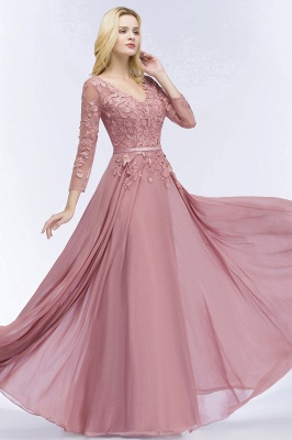 Bridesmaid Dresses Long Dusty Pink | Bridesmaid dress with lace sleeves_4