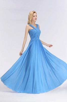 Schöne Brautjungfernkleider Lang Blau   Chiffon Kleider Für Brautjungfern_5