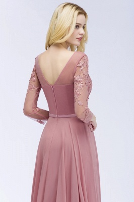 Bridesmaid Dresses Long Dusty Pink | Bridesmaid dress with lace sleeves_5
