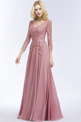 Bridesmaid Dresses Long Dusty Pink | Bridesmaid dress with lace sleeves_3