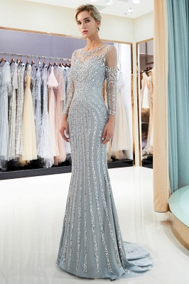Luxury silver evening dresses with sleeves crystal prom dresses evening wear_2