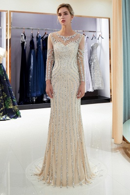 Luxury silver evening dresses with sleeves crystal prom dresses evening wear_1