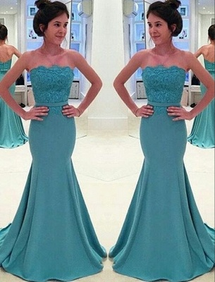 Green Long Evening Dresses With Lace Mermaid Heart Floor Length Prom Dresses_1
