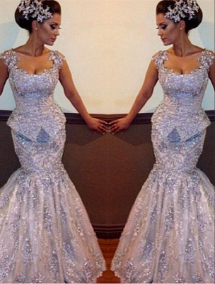 Silver Evening Dress Lace Crystal Mermaid Evening Wear Prom Dresses Cheap_1