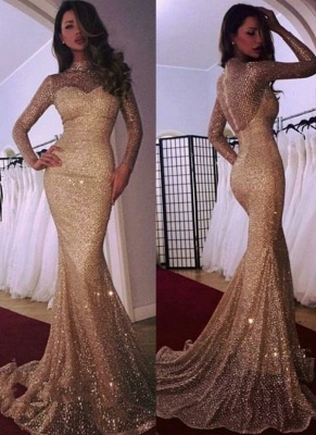 Designer Gold Evening Dresses With Sleeves Sequins Evening Wear Prom Dresses Online_1