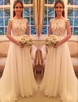 A Linie Weiß Brautkleider Mit Spitze Chiffon Rückenfrei Brautmoden Hochzeitskleider_2