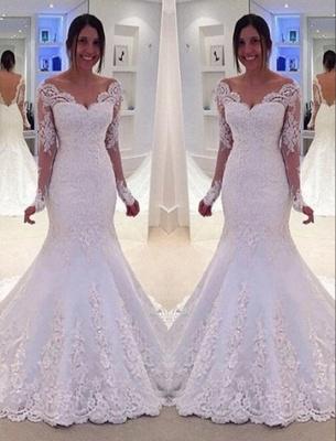 Lang Ärmel Brautkleider Weiß Spitz Meerjungfrau Rückenfrei Brautmoden Hochzeitskleider Nachmäßig_2