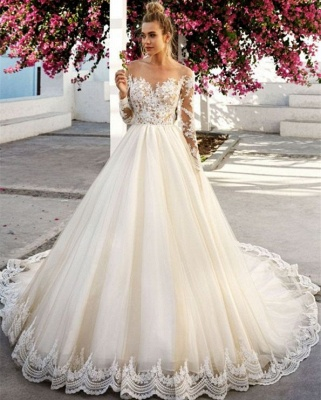 Fashion wedding dress A line | Wedding dresses lace with sleeves_2