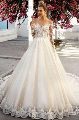 Fashion wedding dress A line | Wedding dresses lace with sleeves_1