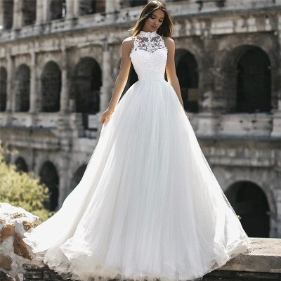 Simple wedding dress with lace | Cheap wedding dresses online_2