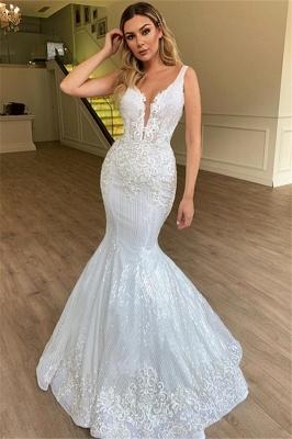 Modern Weiße Brautkleider Spitze | Hochzeitskleid Meerjungfrau_1