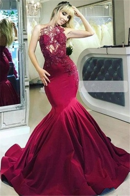 Elegant evening dresses long red | Evening wear with lace online_1