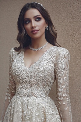 Elegant wedding dresses with lace sleeves | Wedding dresses A line_2