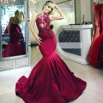 Elegant evening dresses long red | Evening wear with lace online_2