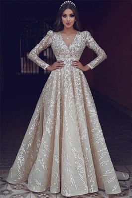 Elegant wedding dresses with lace sleeves | Wedding dresses A line_1